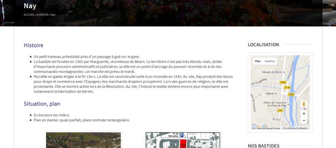 Bastides64 : structure type pour les pages Bastides
