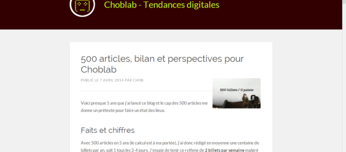 Choblab : article