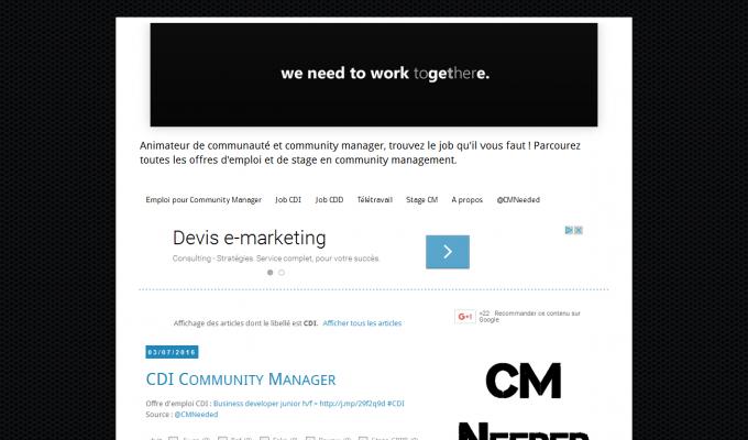 CMNeeded : offres d'emploi CM CDI