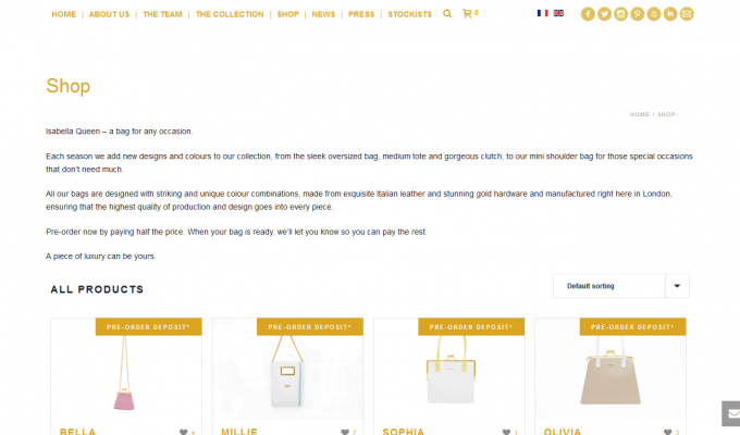 E-commerce Isabella Queen : accueil