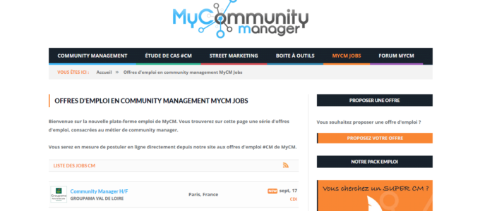 My Community Manager : page jobs